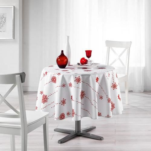 nappe ronde anti tache diam 180 cm blanc rouge etoile filante 100 polyester achat. Black Bedroom Furniture Sets. Home Design Ideas