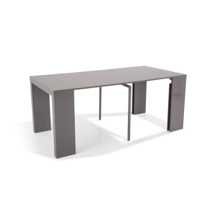 Table console extensible othello 3 allonges laqu gris for Table 6 personnes extensible