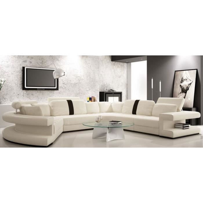 canap cuir panoramique arrondi blanc et noir achat vente canap sofa divan cuir. Black Bedroom Furniture Sets. Home Design Ideas