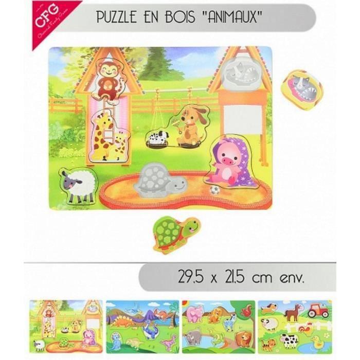 PUZZLE PUZZLE EN BOIS ANIMAUX FERME SAVANE DINOSAURE JOUE