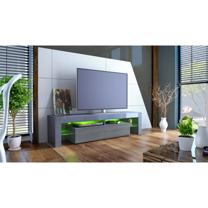 meuble tv 151 cm gris et anthracite achat vente meuble. Black Bedroom Furniture Sets. Home Design Ideas