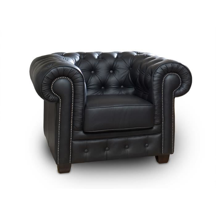 fauteuil chesterfield en cuir v ritable noir massivum achat vente fauteuil cuir v ritable. Black Bedroom Furniture Sets. Home Design Ideas
