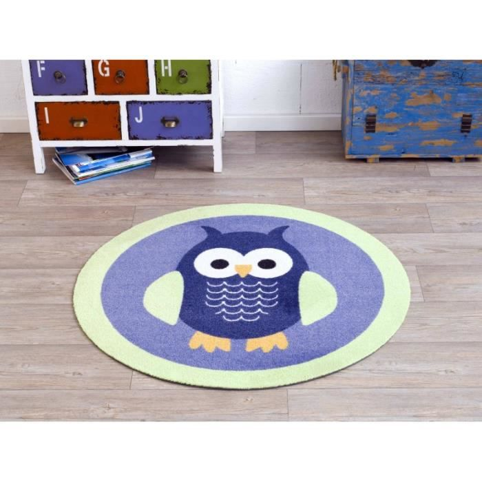 tapis enfants rund hibou bleu vert 100cm 101942 achat vente tapis cdiscount. Black Bedroom Furniture Sets. Home Design Ideas