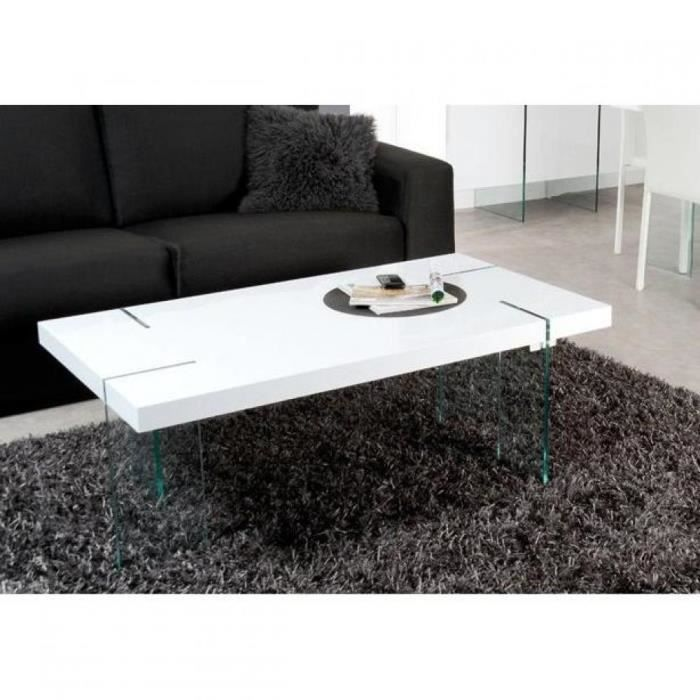 table basse design scoop blanche pieds en verre achat vente table basse table basse design. Black Bedroom Furniture Sets. Home Design Ideas