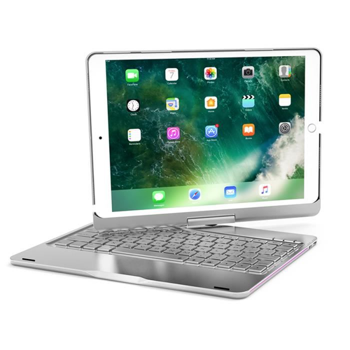 ivso apple ipad 9 7 2018 clavier qwert metallic backlight rotating bluetooth keyboard cover