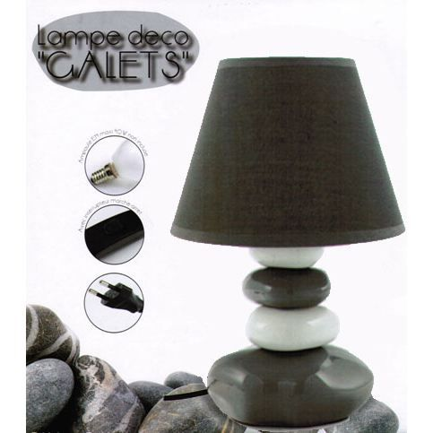 lampe de chevet galets gris blanc achat vente lampe. Black Bedroom Furniture Sets. Home Design Ideas