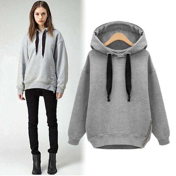 100% top quality 2018 sneakers cute Mode Femme Sweat-shirt En Coton Avec Capuche Veste Pull Velours à Manche  Longue Epais