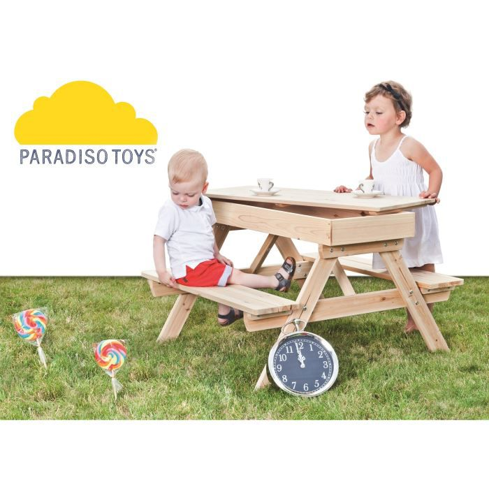 paradiso table pique nique bois et bac sable en bois achat vente table de camping cdiscount. Black Bedroom Furniture Sets. Home Design Ideas