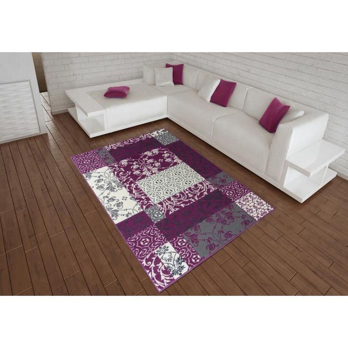 Chambre Baroque Noir Et Violet tapis salon patchwork baroque violet debonsol - 120x170cm