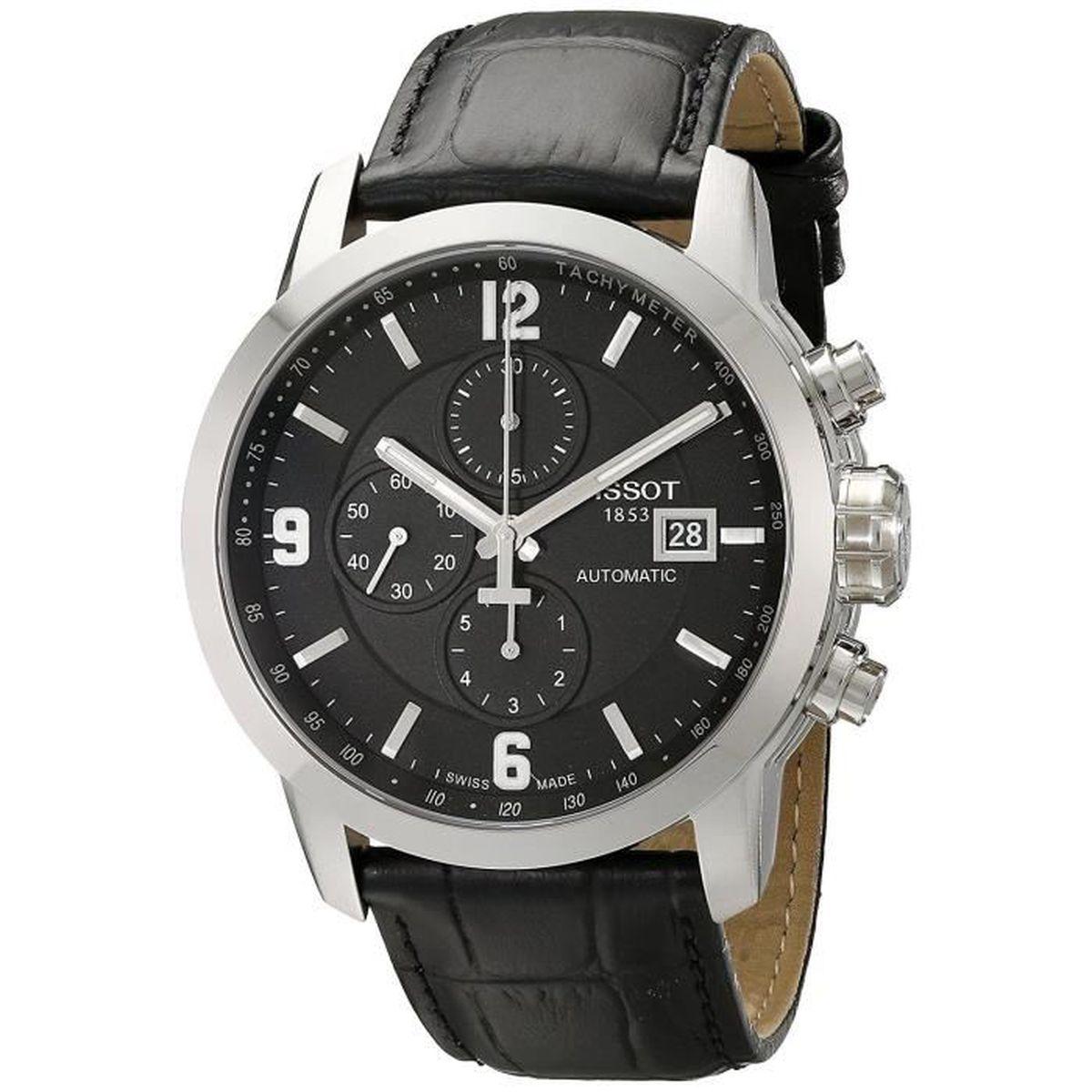 Tissot Homme 44mm Bracelet Cuir Noir Saphire Automatique