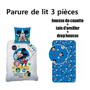 HOUSSE DE COUETTE SEULE MICKEY DISNEY - Parure de lit 3 pièces housse de c