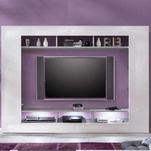 MEUBLE TV Ensemble TV design blanc laqué et couleur béton gr