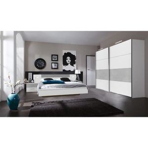 ARMOIRE DE CHAMBRE Ensemble chambre adulte Lit futon avec eclairage e