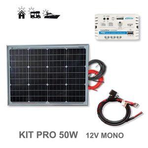 KIT PHOTOVOLTAIQUE Kit 50W PRO 12V panneau solaire monocristallin cel