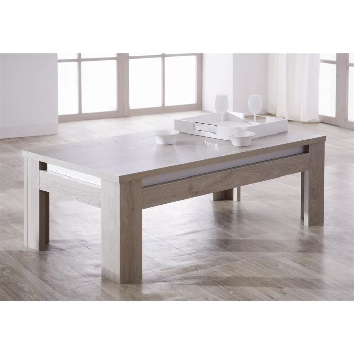 dinant table basse 130cm coloris ch ne gris achat. Black Bedroom Furniture Sets. Home Design Ideas