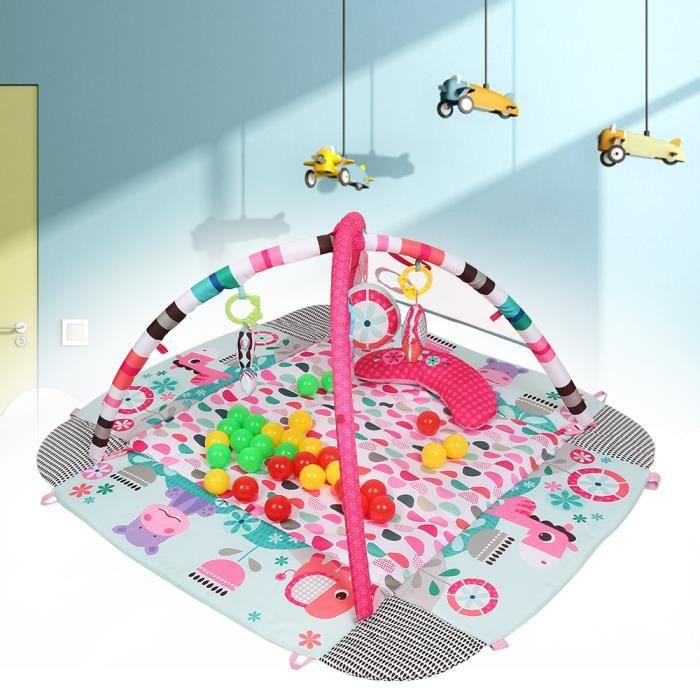 HUGUANGh®Tapis d'éveil 5-en-1 ROSE, jouet pour Bébé avec 30balles