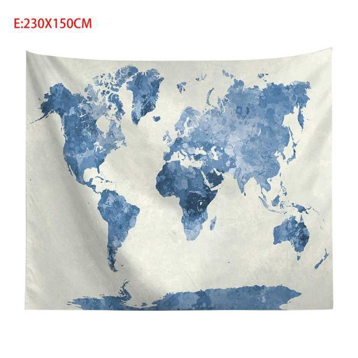 Vintage carte du monde tapisseries murales suspendus Hippie tapisserie couvre-lit tapis de Yoga nouveau @sea9357