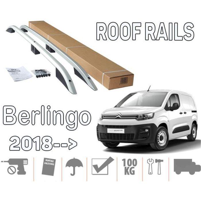 Barres de toit pour Citroen Berlingo III 09-2018> court longitudinales alu + pieds plastique noir