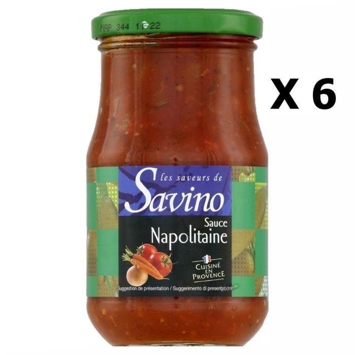 Lot 6x Sauce napolitaine cuisinée en Provence France - Les Saveurs de Savino - pot 350g