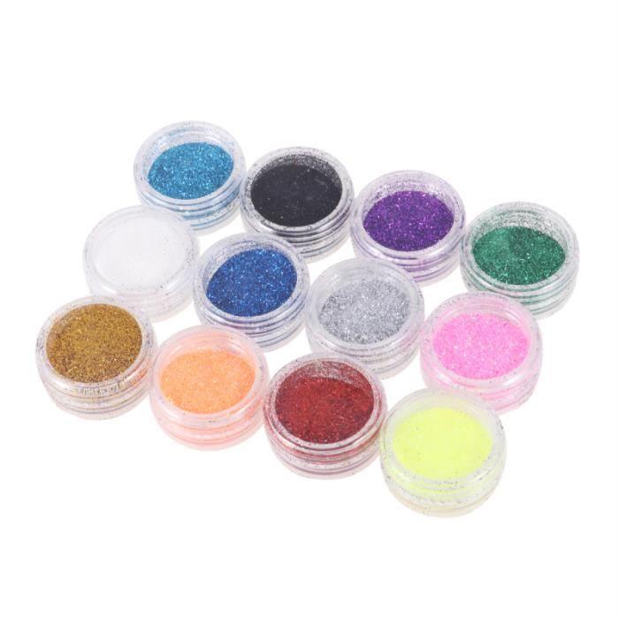 12 pièces trempage respirant paillettes maquillage Nail Art poudre ongles conseils COFFRET DE MANUCURE - KIT MANUCURE - PEDICURE