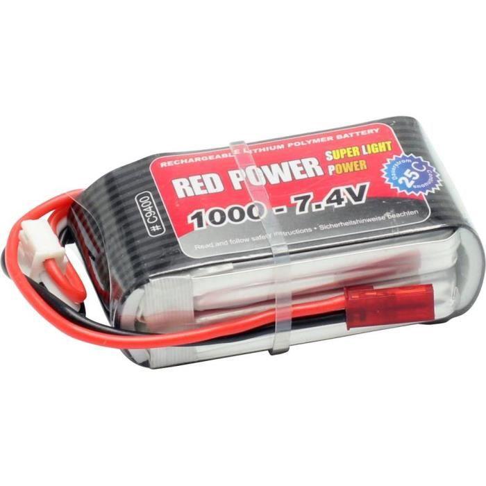Pack d'accus de modélisme (LiPo) 7.4 V 1000 mAh Red Power C9400 25 C extrémités de câble ouvertes