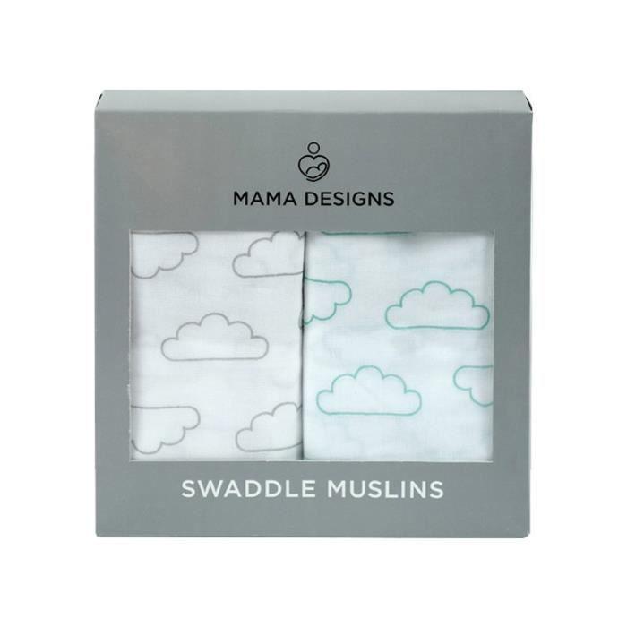 Coffret de 2 grands langes mousseline de coton Nuages Mama Designs