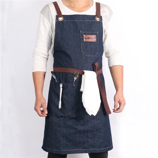 WEEYI tablier de cuisine de Restaurant En Denim, tablier de cuisine pour femmes hommes café Shop BBQ - B1-One Size Fits All