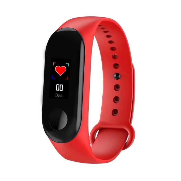 Podomètre,Nouveau Bracelet M3 Bracelet étanche écran tactile podomètre Bluetooth contrôle Fitness compteur de calories - Type Rouge