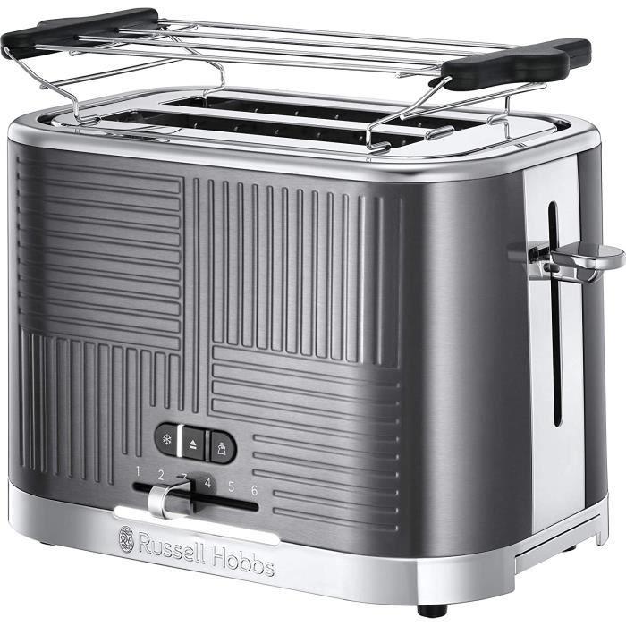 Toaster Grille-Pain, 4 Fonctions, Brunissage Uniforme, Température Ajustable, Réchauffe Viennoiseries, Pince - 25250-56 Geo Steel