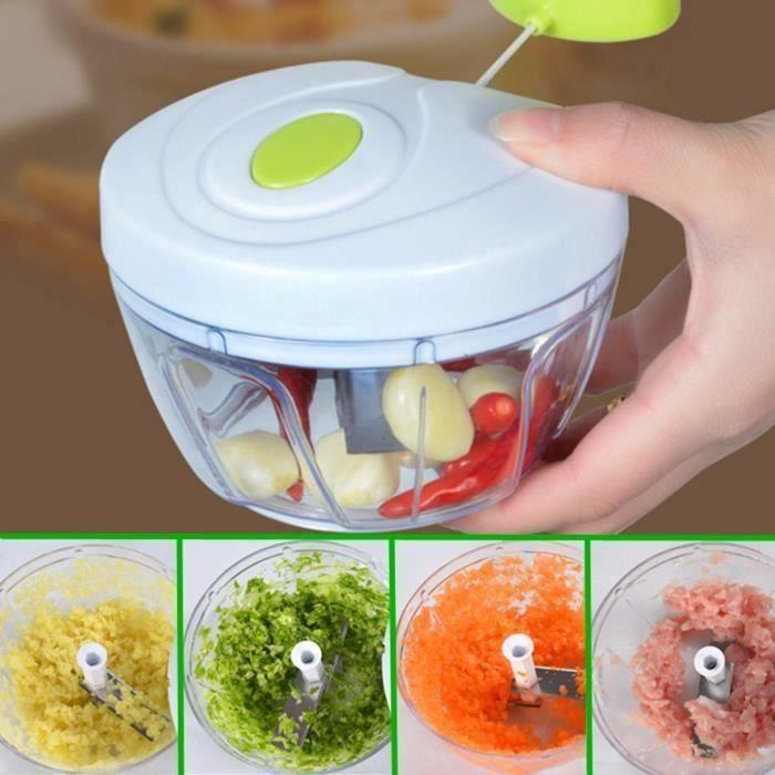 Hachoir Manuel Fruits Légume Viande Aliments Mélangeur Mixeur Batteur 3-Lame Inox. Cuisine