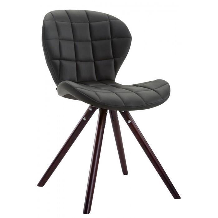 Chic Chaise visiteur ligne Saint-Georges cuir synthetique cappuccino rond couleur noir