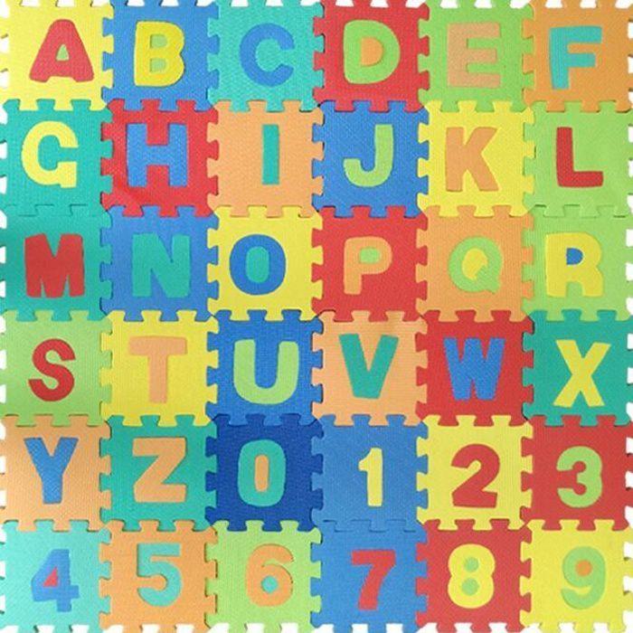 36 pièces Puzzle Tapis Mousse Bébé Non Toxiques Alphabets & Chiffres Tapis de Puzzles pour Enfants 14*14cm/pcs