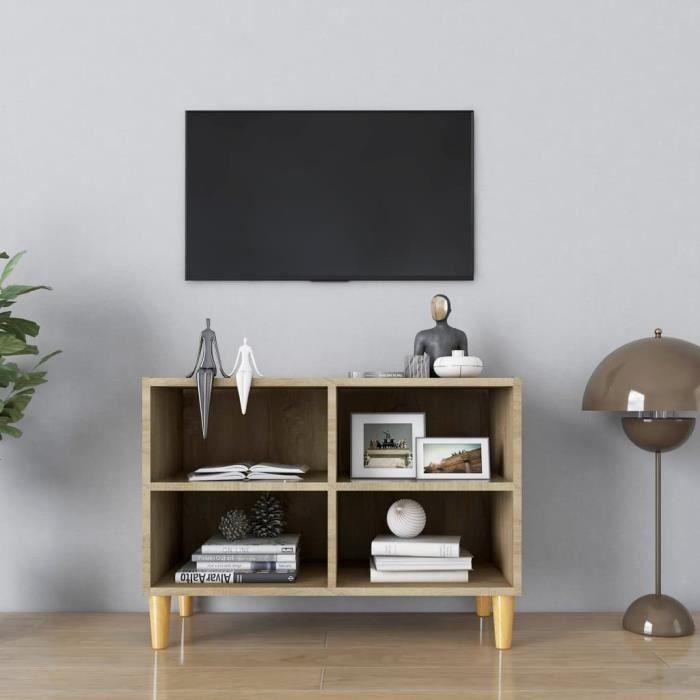 WONG Meuble TV avec pieds en bois massif Chêne sonoma 69,5x30x50 cm