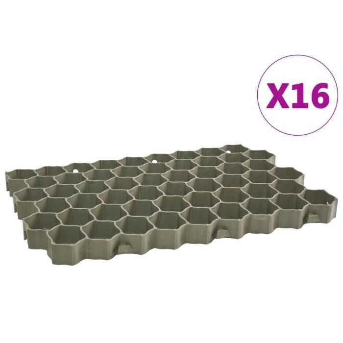 MOULURE - GOULOTTE - QID Grilles d'herbe 16 pcs Vert 60x40x3 cm Plastique