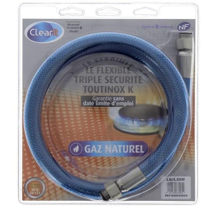 Tuyau flexible pour gaz naturel triple sécurité Vissinox à embouts mécaniques - 1,5 m