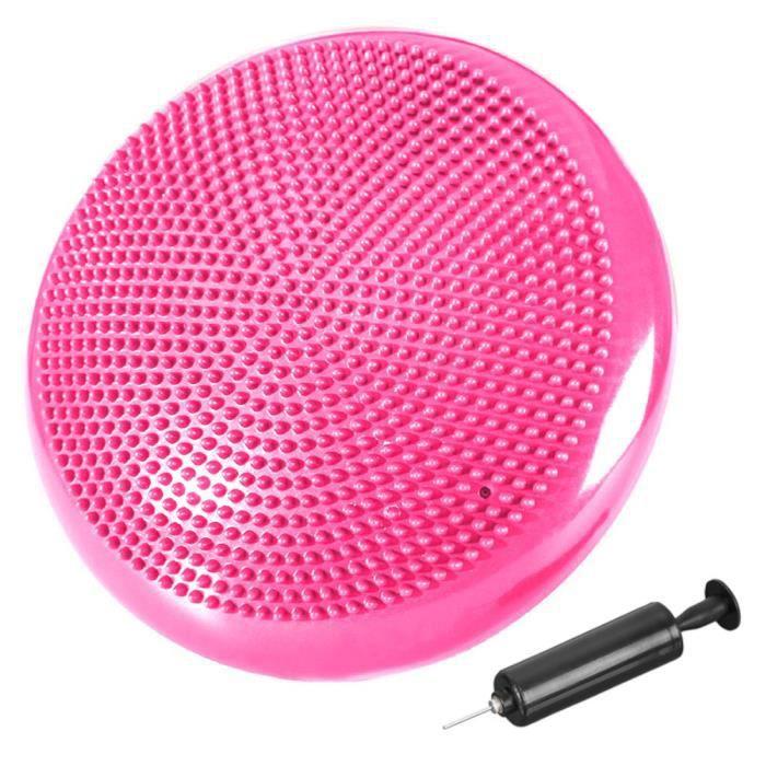 Coussin d'équilibre de gymnastique/ fitness anti-éclatement 2 faces D. 33 cm en PVC (Rose) + pompe de gonflage - D-Work