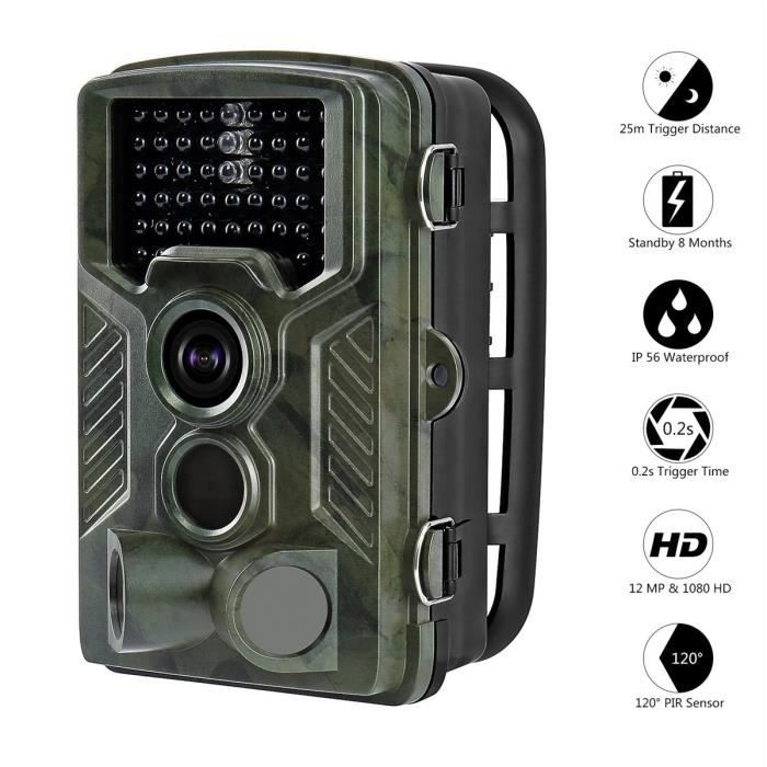 Caméra de Chasse Animal Caméra de Surveillance Infrarouge Imperméable Nocturne Vidéo Numérique Camouflage