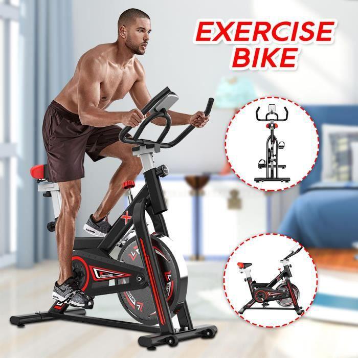 KirinSport Vélo d'appartement ergomètre avec housse de protection grande roue d'inertie poids de l'utilisateur jusqu'à 150 kg LCD
