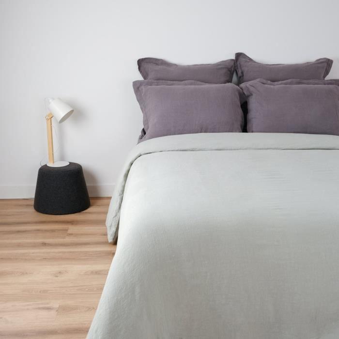 LINANDELLE - Housse de couette 100% lin lavé uni VARADERO - Gris clair - 240x220 cm