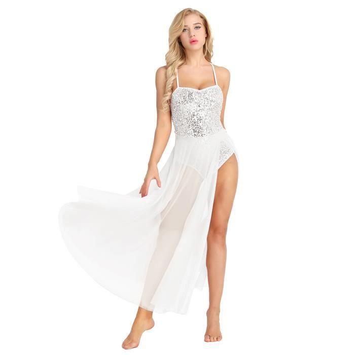 Femme Robe Danse à Paillette Latine Justaucorps Danse Classique Costume Danse Tenue XS-XL Blanc