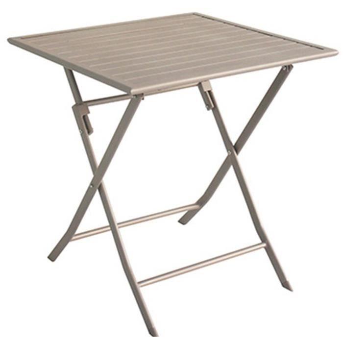 Table de jardin en aluminium carré coloris taupe mat - Dim : 70 X 70 X 72cm