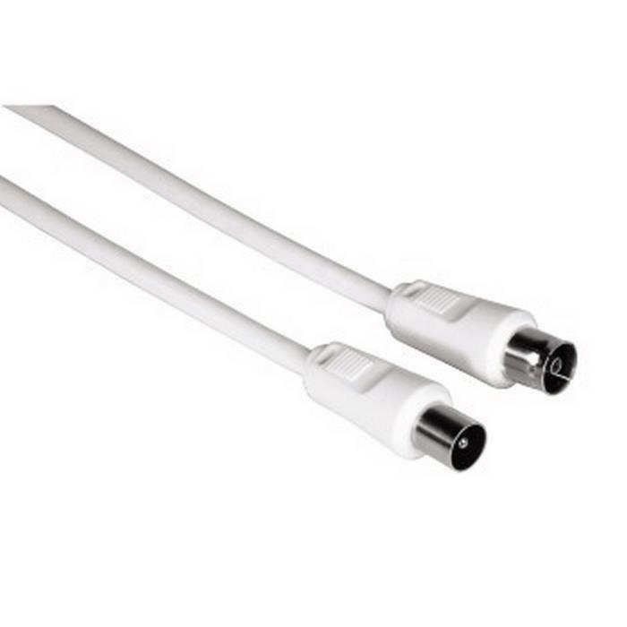 THOMSON-Câble d'antenne,coax mâle - coax femelle, 5m, 80dB, Adaptateur incl.,Blanc
