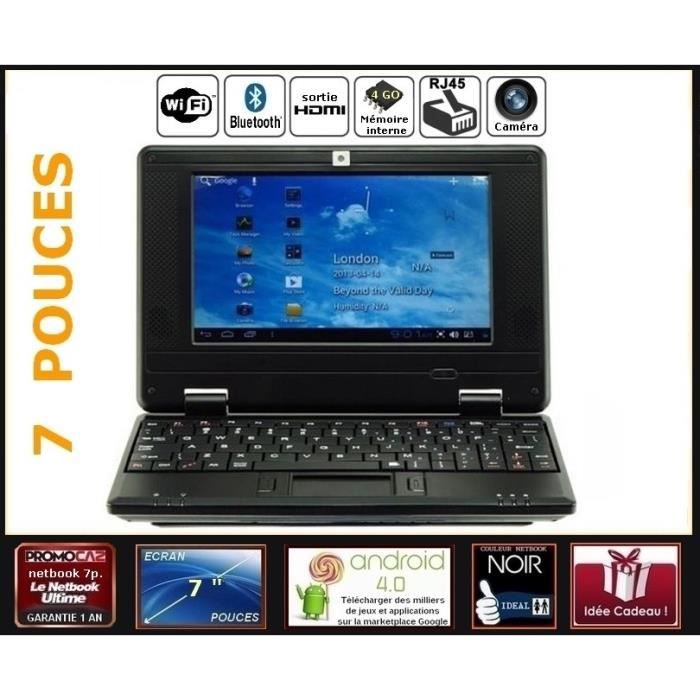 Netbook noir cran 7 pouces android 4 0 wifi 4go hdmi for Photo ecran android 6