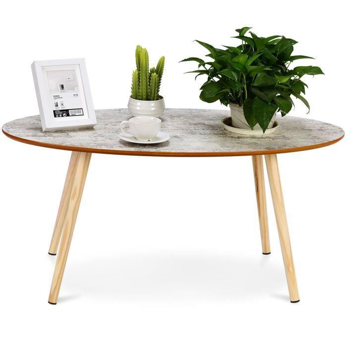 Giantex Table Basse En Ovale Retro Style Vintage Dimension