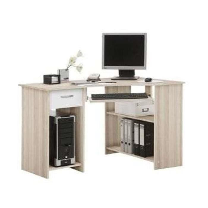 bureau d 39 angle ch ne et blanc avec tiroirs achat vente meuble informatique bureau d 39 angle. Black Bedroom Furniture Sets. Home Design Ideas