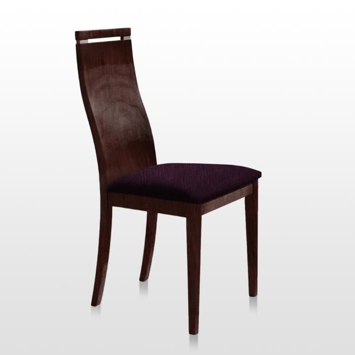 Lot de 2 chaise cuba bois weng tissu prune achat for Chaise prune