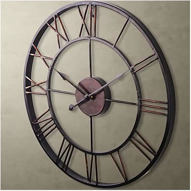 horloge mural vintage en m tal 50 cm achat vente horloge pendule m tal soldes d s. Black Bedroom Furniture Sets. Home Design Ideas