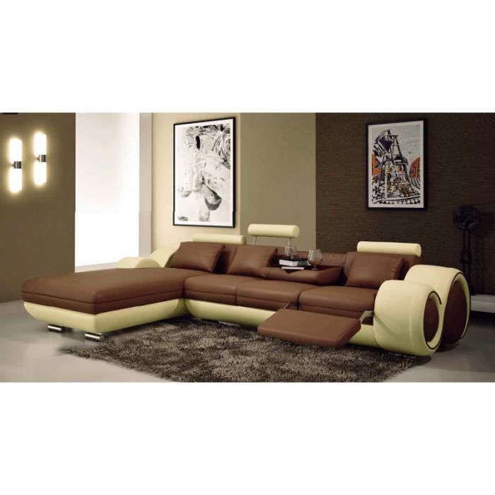 canap d 39 angle avec m ridienne marron et beige achat. Black Bedroom Furniture Sets. Home Design Ideas