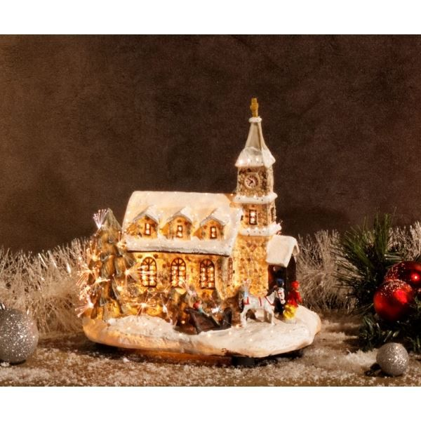D coration de no l eglise en polystone avec f achat for Achat decoration de noel