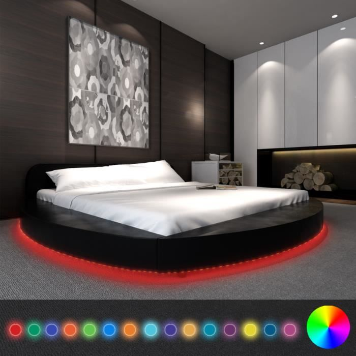 lit en similicuir rond noir 180 x 200 cm avec bande led et matelas achat vente ensemble. Black Bedroom Furniture Sets. Home Design Ideas